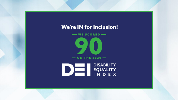 Graphic showing Baxter's inclusion on the Disability Equality Index
